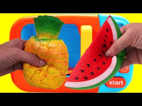 Thumbnail: Microwave Surprise Learn Colors Squishy Toy Fruit Cutting Pretend Playset Fun for Kids