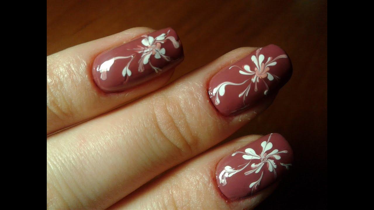 Рисунки на ногтях иглой - YouTube