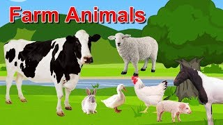 Learn Farm Animals Names & Sounds For Kids Children Toddlers   Animals Old MacDonald Nursery Rhymes