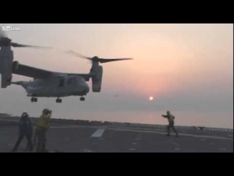 LiveLeak.com - MV 22 Tiltrotor Aircraft Vertical Landing