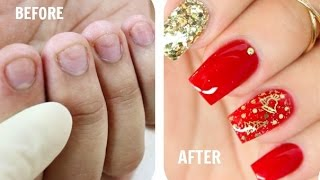 How to Fix Short Nails with Acrylic + Classy Christmas Nails