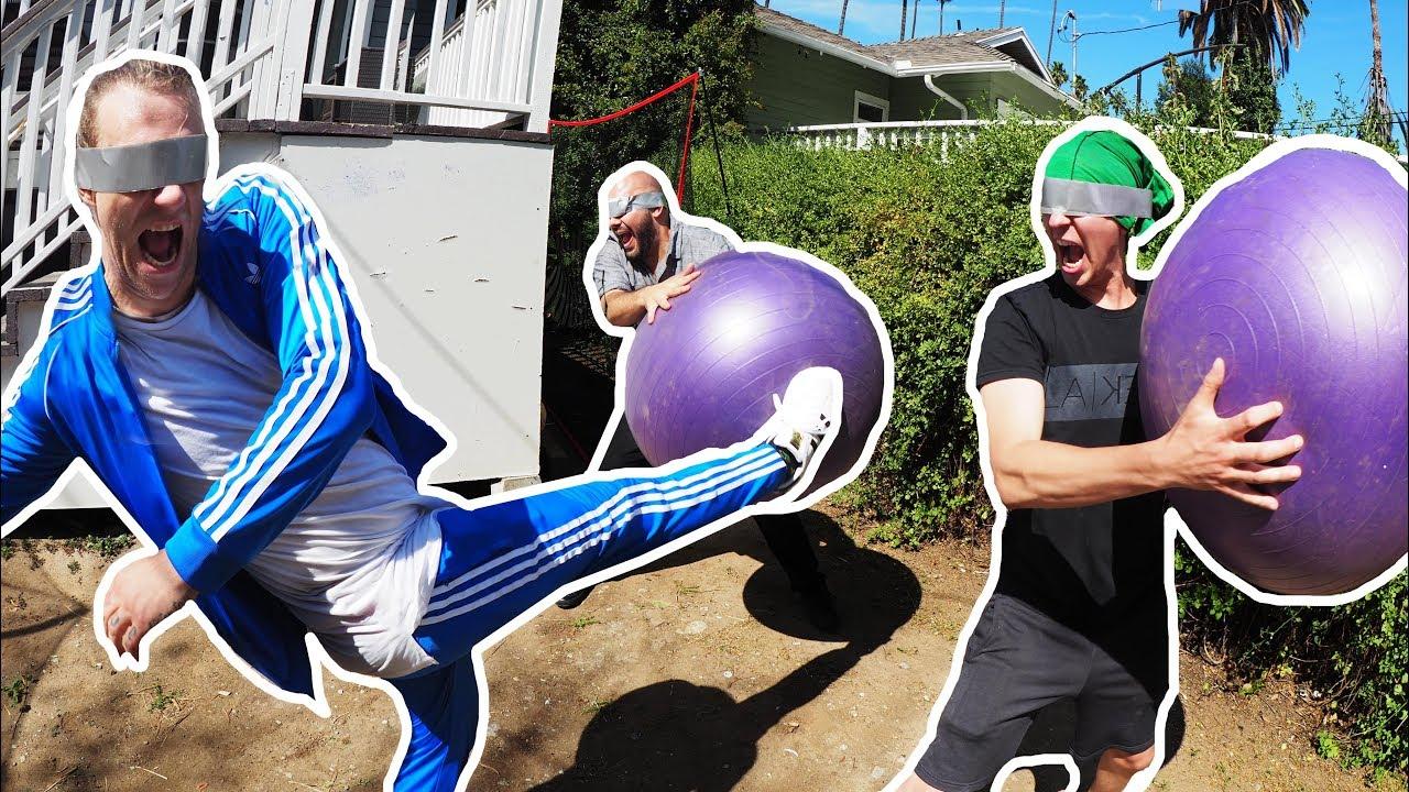 Duct-Tape Blindfolded Yoga Ball Dodge Ball!