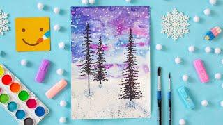 Как нарисовать зимний пейзаж акварелью для  начинающих