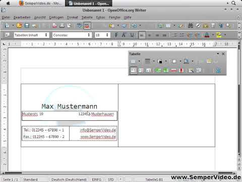 OpenOffice Writer: Visitenkarten