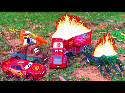 Thumbnail: Disney Pixar Cars Lightning McQueen Saves Red Mack Hauler on FIRE Giant Spider Attack Cars Movie