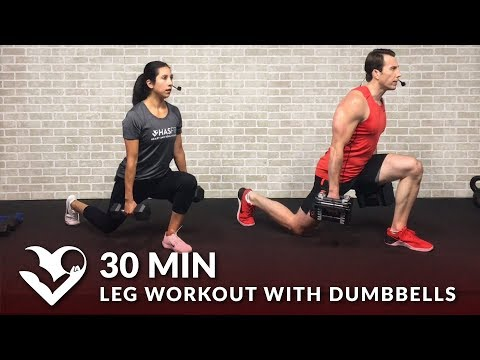 30 Minute Home Leg Workout with Dumbbells for Women & Men - Lower Body Bodybuilding Legs Workout