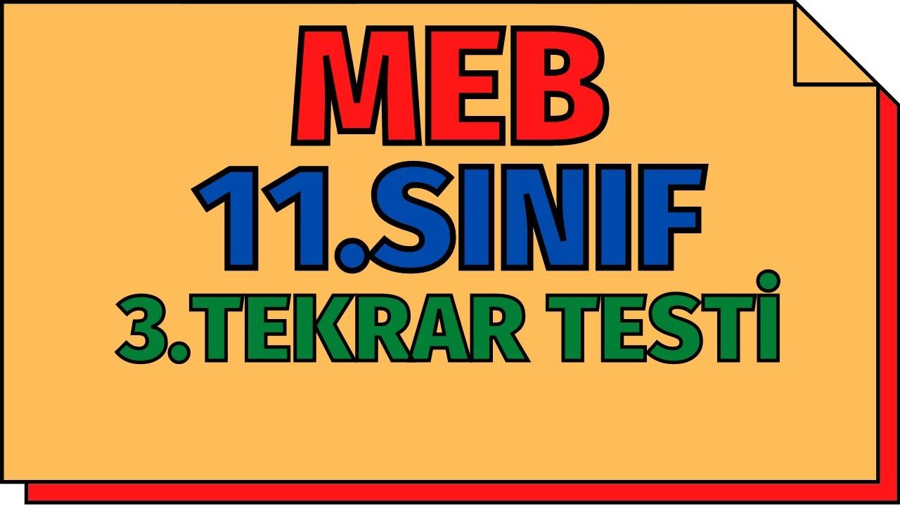11.Sınıf Kimya 3.Tekrar Testi (Yeni Nesil Sorular) MEB   AYT 2020