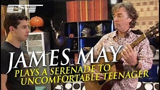 JAMES MAY as a minstrel plays a serenade to uncomfortable teenager