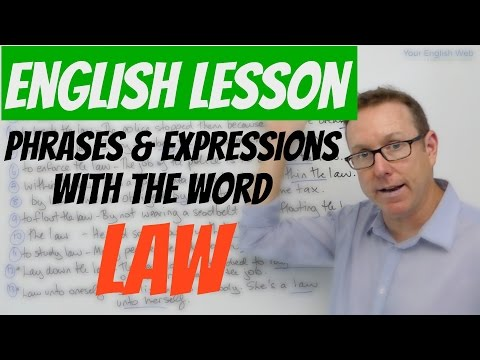 English lesson - phrases and expressions with LAW - aprende inglés