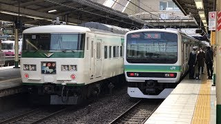 [Japan Railway]185系臨時特急踊り子161号JR常磐線松戸駅到着 Joban Line Extra Train Odoriko No.161 at Matsudo Station