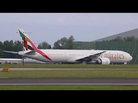 EMIRATES EK21 A6-ECJ Boeing 777-31H(ER) Approach and Landing Manchester Airport 18/05/17