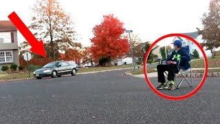 SITTING IN THE MIDDLE OF THE ROAD PRANK ON STRANGERS! *WE HAD A AIRHORN*