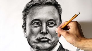 Drawing Elon Musk - Time lapse video