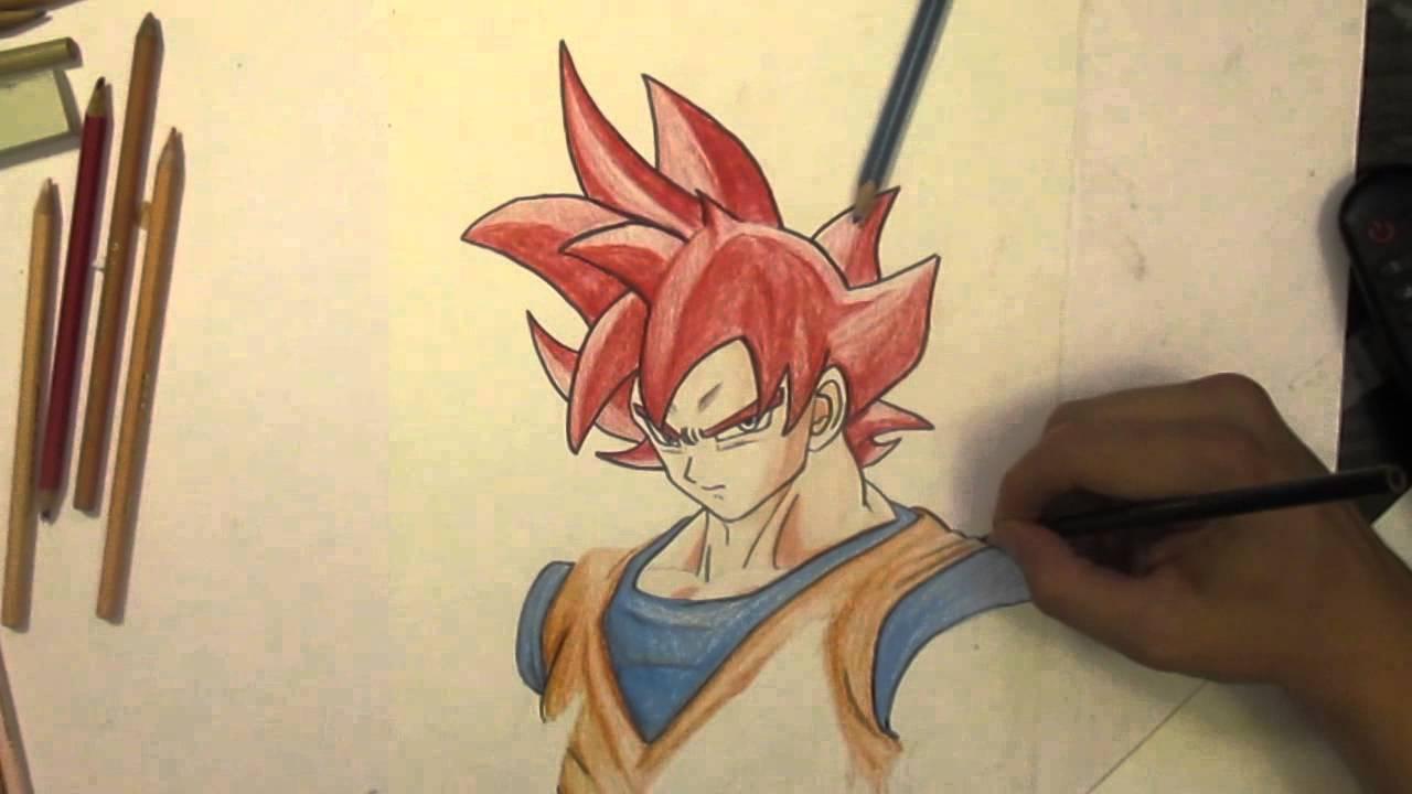 Dibujando Goku fase dios  drawing Goku phase god  YouTube