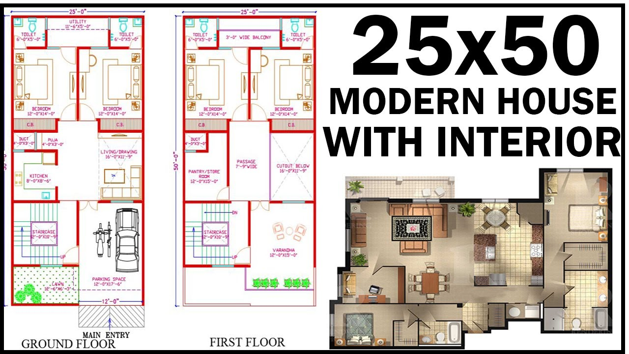 25x50 House Plan With Interior East Facing House Plan Gopal Architecture Youtube