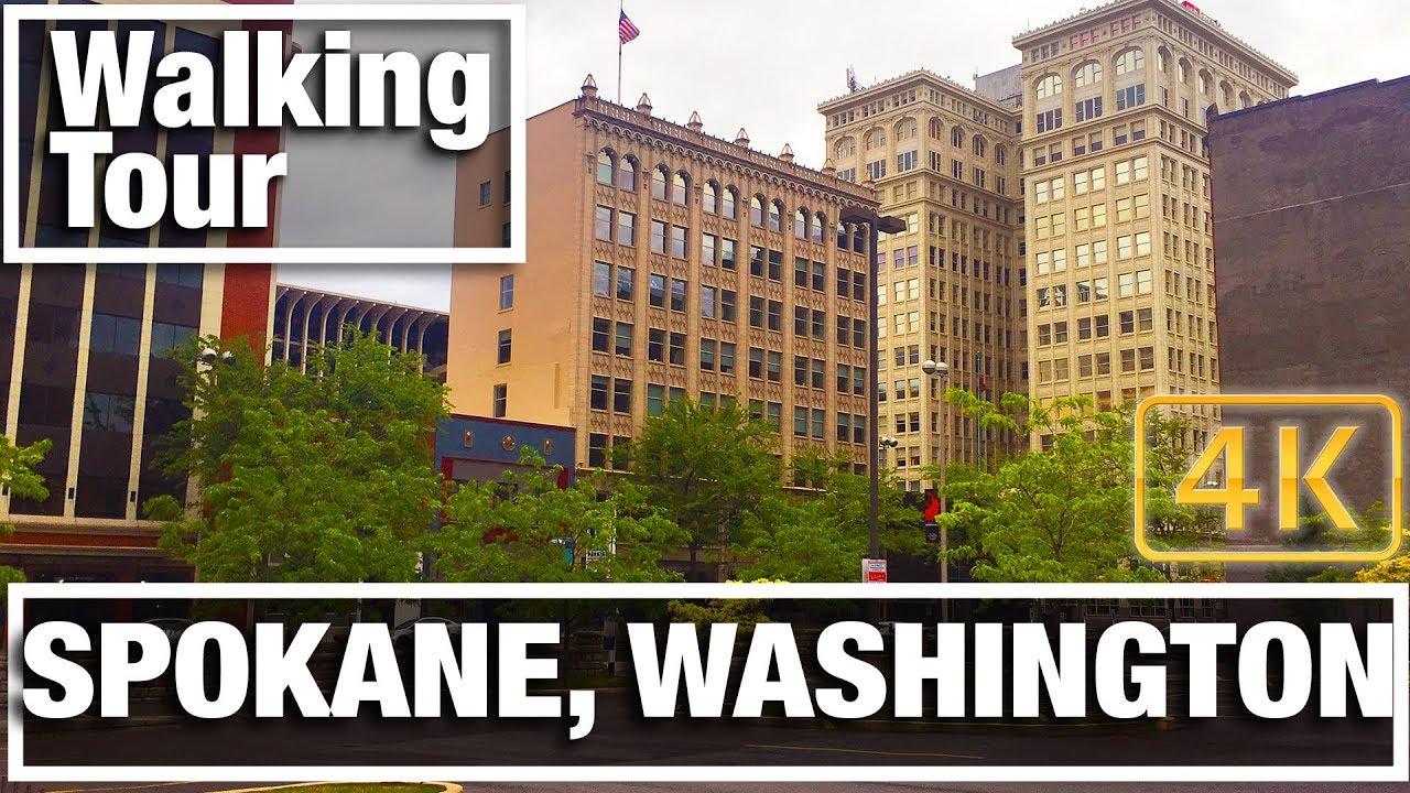 4K City Walks: Spokane, Washington Virtual Treadmill Walking Tour