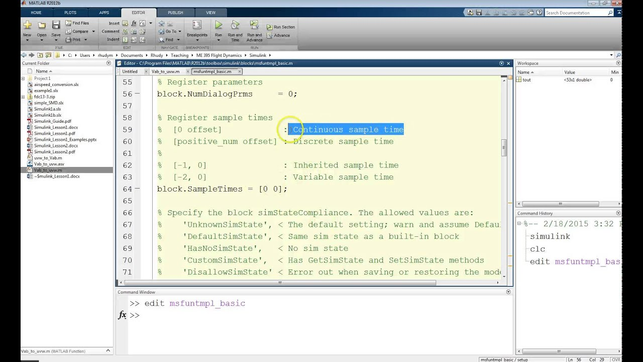 Simulink Level 2 S Functions Part 1