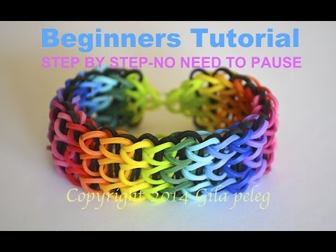Rainbow Loom-Multicolor Triple Single bracelet for beginners-STEP BY STEP