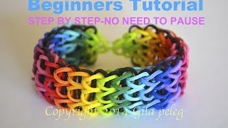 Repeat youtube video Rainbow Loom-Multicolor Triple Single bracelet for beginners-STEP BY STEP