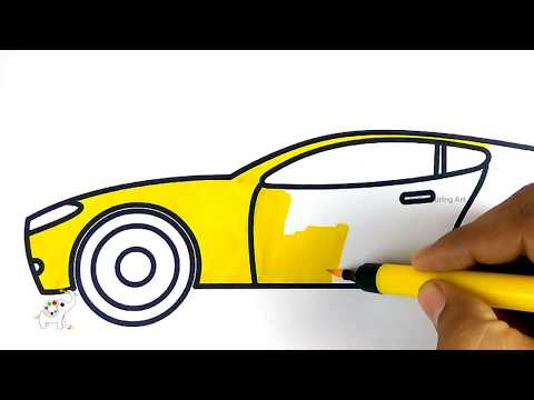 How To Draw A Sports Car Easy Step Colouring Art Drawing For Kids With Colored Markers Youtube