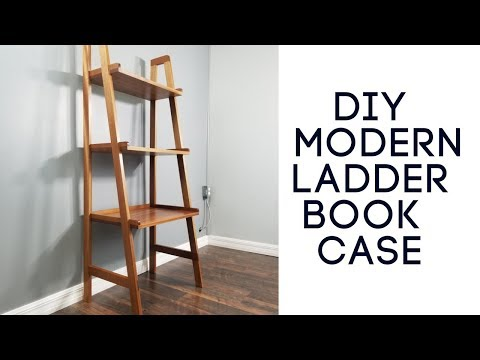 DIY Modern Ladder Bookcase Build