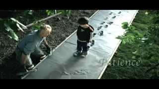 boy walks on wet cement.mp4