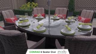 8 SEAT OVAL - RATTAN DINING SET - CONRAD CHAIR