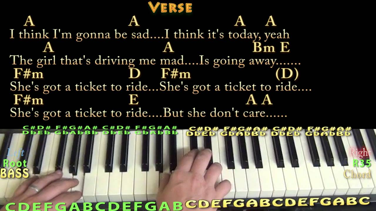 Ticket to Ride The Beatles Piano Lesson Chord Chart with On Screen Lyrics