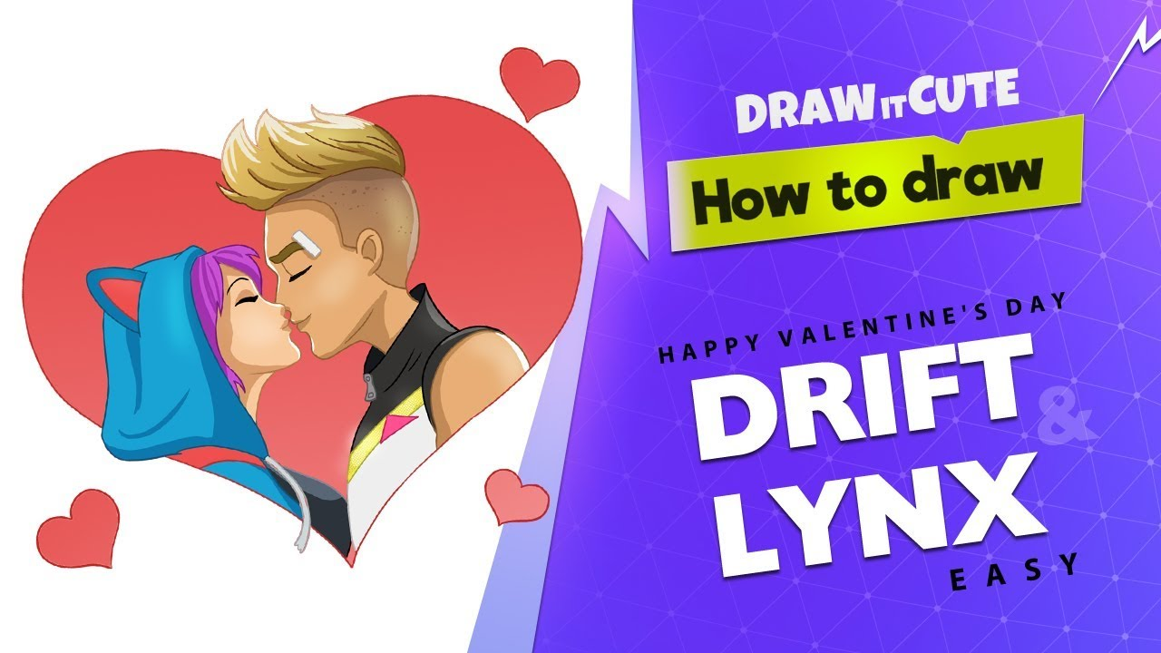 How To Draw Drift Amp Lynx Easy Fortnite Valentine S Day