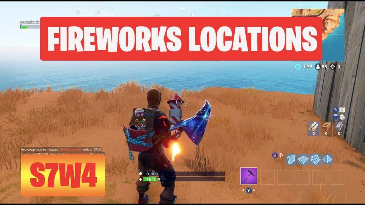 Launch Fireworks All 3 Locations Season 7 Week 4 Challenges Fortnite