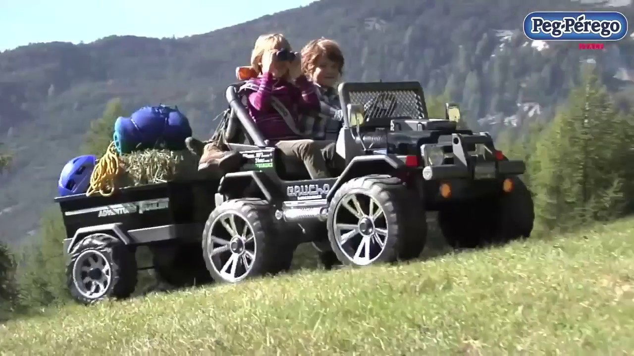 voiture lectrique enfant 4x4 peg perego gaucho superpower youtube. Black Bedroom Furniture Sets. Home Design Ideas
