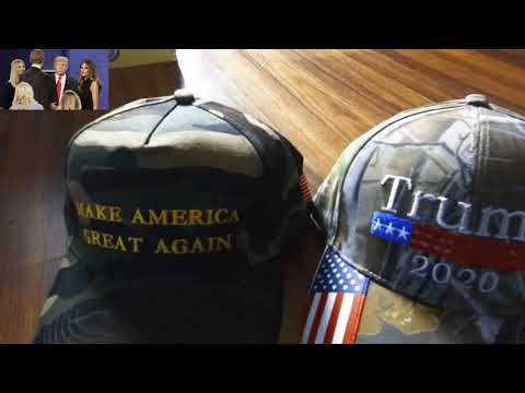 Donald Trump 2020 Hat Mossy Oak Camo With American Flag Embroidery