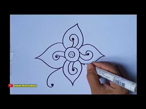 Cara Menggambar Batik Motif Bunga 1 Youtube