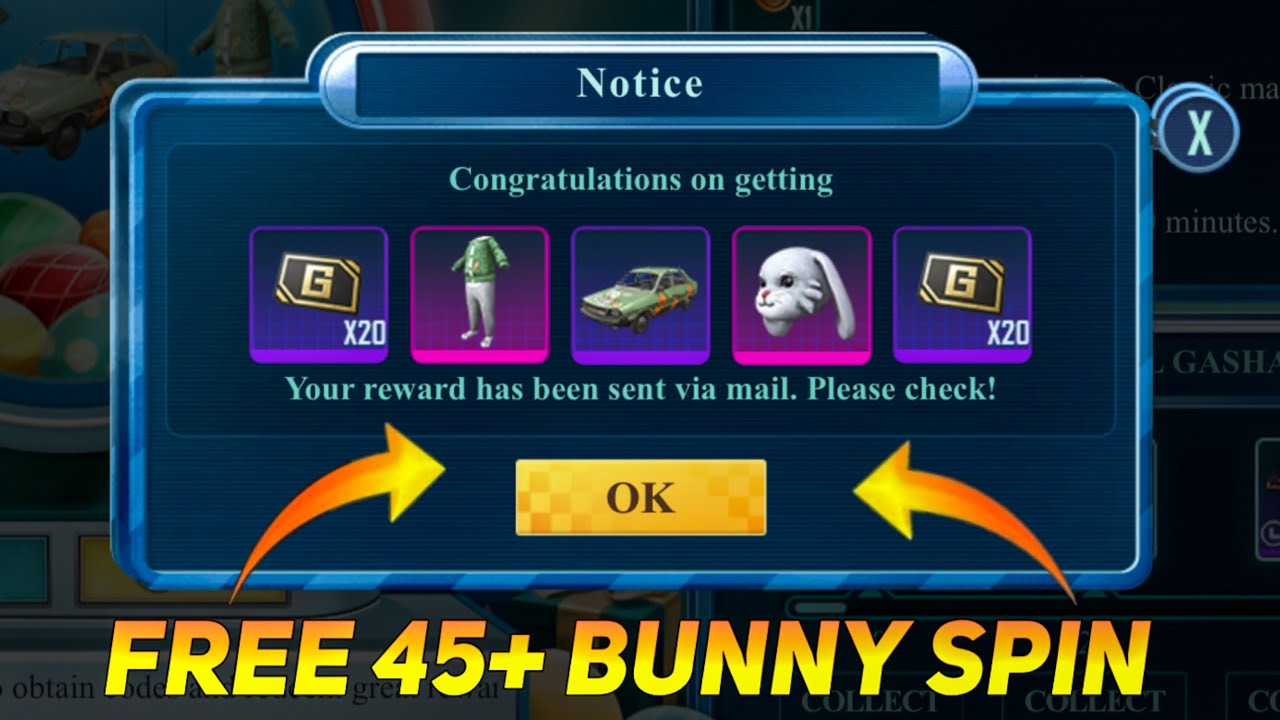 FREE 45+ BUNNY SPIN IN PUBG MOBILE - SAMSUNG,A3,A5,A6,A7,J2,J5,J7,S5,S6,S7,59,A10,A20,A30,A50,A70