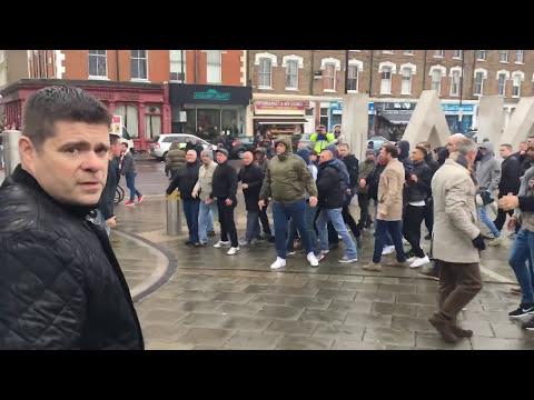 Arsenal vs Tottenham fans fight. Emirates stadium. 18/11/2017