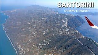 Santorini Airport - Landing and Take Off 4K