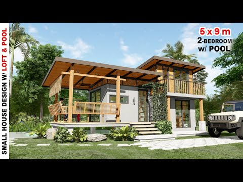 2 BEDROOM SMALL HOUSE DESIGN with LOFT and POOL | House Design Under 1 Million