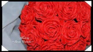 Простые цветы из гофрированной бумаги(Хотите сделать цветы их гофрированной бумаги? Предлагаю сделать красивые розы или даже букет роз! Как сдела..., 2014-08-03T13:35:11.000Z)