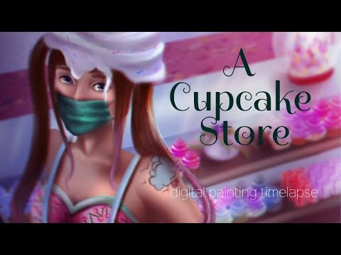 A Cupcake Store | digital painting timelapse