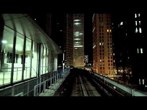 Tokyo Bay Waterfront Panoramic Night View: Yurikamome Line Cruising, Shimbashi to Toyosu