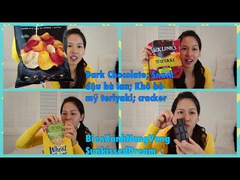 Những thức ăn Vặt Mỹ: Dark Chocolate; Snack đậu hà lan; Khô bò mỹ teriyaki; cracker♡Cuộc sống Mỹ♡