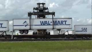 Unloading WalMart Trailers from FEC Flat Cars at Ft Pierce, FL