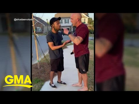 White soldier charged with assault for shoving, berating Black man in viral video l GMA - Good Morning America