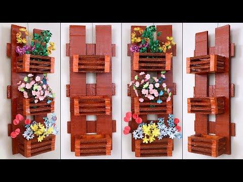 Genius Cardboard Craft... || DIY Wall Hanging Flower Pot Making || Handmade Things