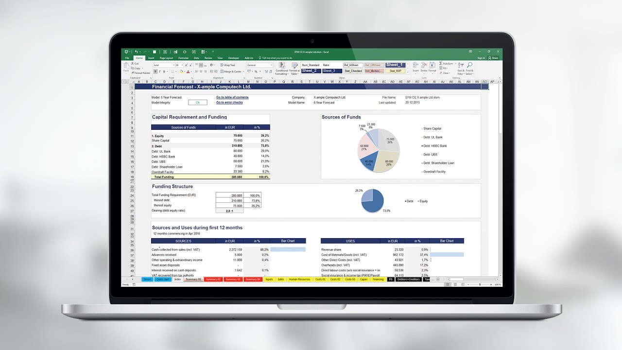 Excel Financial Business Plan Template Projections Software