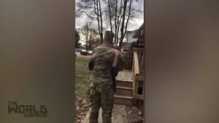 Holbrook Soldier's Surprise Holiday Visit Home