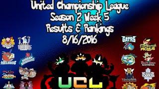UCL Season 2 Week 5 Results and Rankings