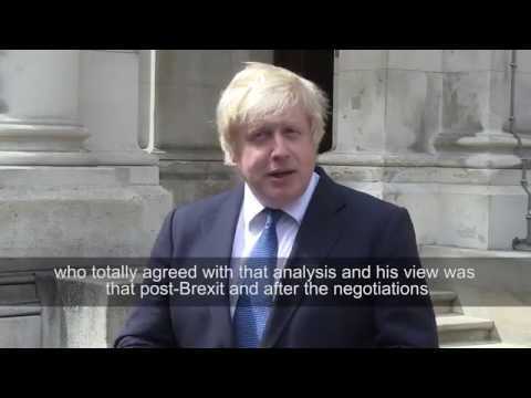 New Foreign Secretary, Boris Johnson, gives his first interview to media