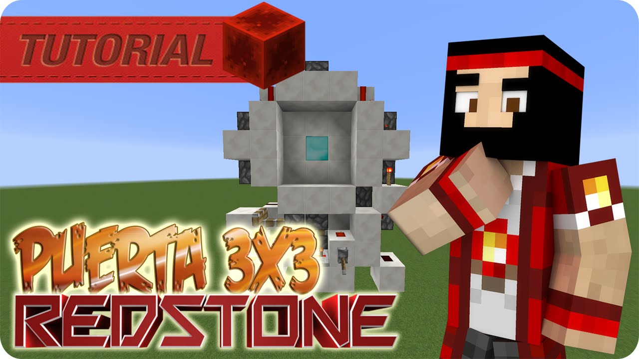 Redstone minecraft puerta 3x3 super compacta youtube for Porte 3x3 minecraft