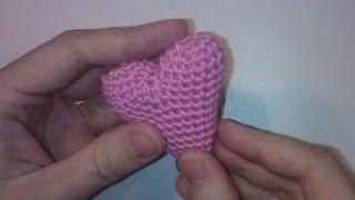 Объемное маленькое сердечко крючком Crochet Puffy small heart Valentine day